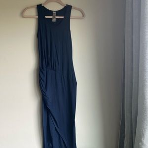Go Couture Navy High Low Drape Dress w Side Slit
